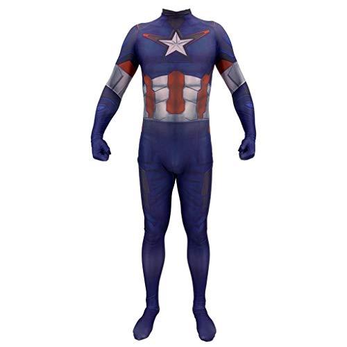 Kostüm Captain America Avengers Halloween Prom Performance Festival Geschenk Cosplay Kostüme (Color : Blue, Size : XXL) ()