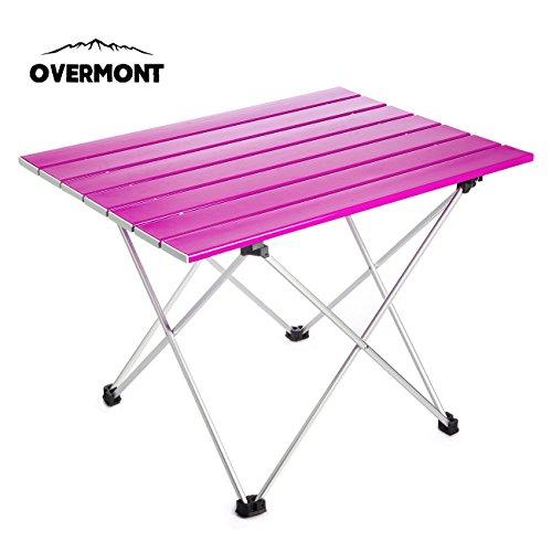 Overmont Aluminium Tragbar Klapptisch Campingtisch klappbar Tisch für Camping Garten Wandern Picknick Reisen Angeln Mehrfarbig M/ L mit Aufbewahrungstasche