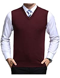 dc63aa22d99a5 Yingqible Classic Mens Gilet V-Neck Sleeveless Jumper Vest Knitwear  Cardigans Knitted Waistcoat Sweater Tank