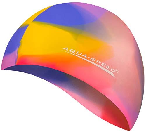 Aqua Speed® Set - BUNT Badekappe + Kleines Mikrofaser Handtuch | Silikon | Bademütze | Badehaube | Schwimmhaube | Erwachsene | Damen | Herren | Kinder, Kappen Designs:22. Bunt / 70
