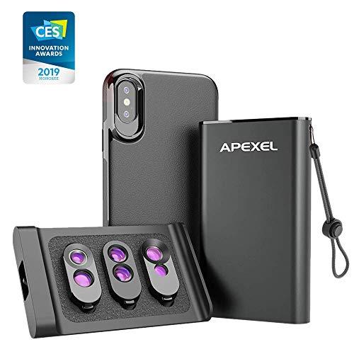 Apexel 3-in-1-Objektivset mit rückseitigem magnetischem Gehäuse für das iPhone X/XS (NUR) + Externes Objektiv, Zwei Makro-Objektive + Tele- und Fischauge + Teleobjektiv & Weitwinkel