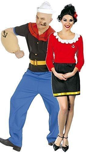 Paar Damen UND Herren Popeye & Olivenöl Oyl 1960er jahre Cartoon Matrose Kostüm Verkleidung Outfit (Olive Kostüm)
