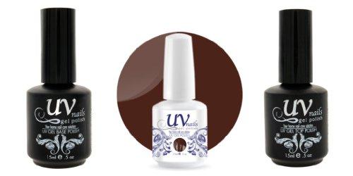 UV-Nails Vernis a Ongles Soak-Off Gel 15ml Deep Chocolate #198 + Base & Top Coat 15ml + Aviva Polissoir a ongles