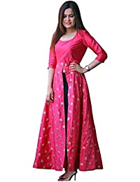 Caffoy Cloth Company Women's Pink Color Taffeta Silk Designer Party Wear Anarkali Dresses.