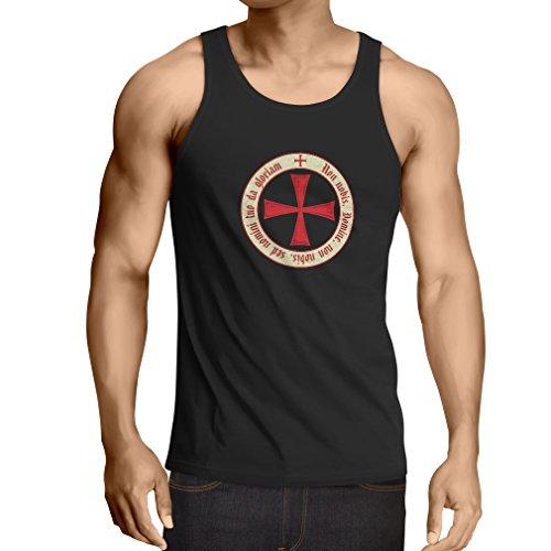 Weste Tempelritter Templer Orden T-Shirt (Knights Templar) für Herren mit Tatzenkreuz Ordo Red (Small Schwarz (Helsing Van Kostüm Erwachsene)
