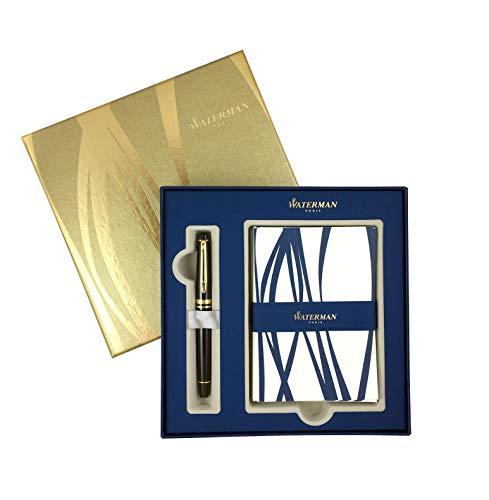 Waterman Expert penna stilografica nero con elementi dorati, punta Fine, coffret-cadeau