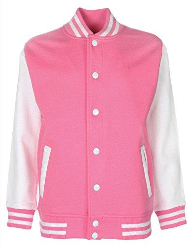 College-Jacke/Freizeitjacke - für Damen und Herren Farbe Rosa/Weiß Größe XS