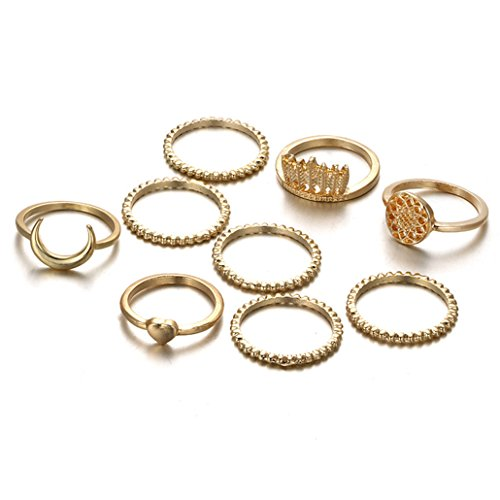 NYAOLE - Juego de anillos para mujer, diseño de atrapasueños, luna, corazón, moderno, personalizable, regalo para el día de San Valentín