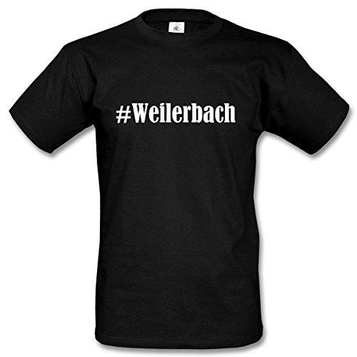 T-Shirt #Weilerbach Hashtag Raute für Damen Herren und Kinder ... in den Farben Schwarz und Weiss Schwarz