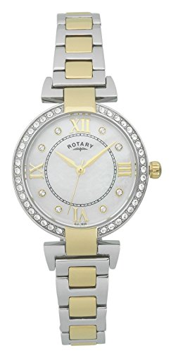 Rotary Two Tone Stainless Steel Crystal Set Bracelet Watch Water Resistant Women