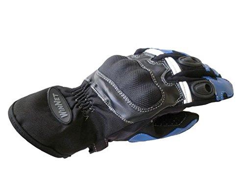 WinNet guanti da per moto in pelle con protezioni blu
