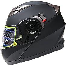 Casco Moto Modular ECE Homologado - YEMA YM-925 Casco de Moto Integral Scooter para Mujer Hombre Adultos con Doble Visera-Negro Mate-M