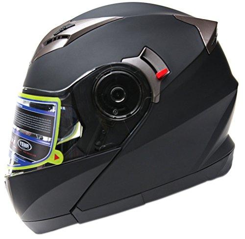 Motorradhelm Klapphelm Integralhelm Fullface Helm - Yema YM-925 Rollerhelm Sturzhelm mit Doppelvisier Sonnenblende ECE für Damen Herren Erwachsene-Schwarz Matt-XL