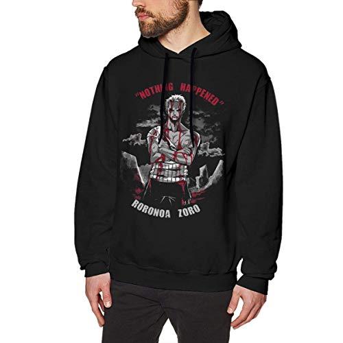 Cool Anime One Piece Roronoa Zoro Nothing Happened Men's Long Sleeved Pullover Sweatshirts Hoodies M