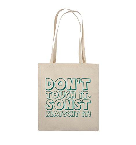 Comedy Bags - DON'T TOUCH IT - KLATSCHT - Jutebeutel - lange Henkel - 38x42cm - Farbe: Schwarz / Pink Natural / Türkis