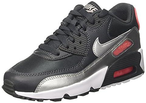 Nike Air Max 90 Mesh (Gs), Sneakers Basses Garçon, Noir (Anthracite/Metalli Silver-Hot Punch), 38 EU