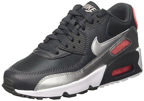 Nike Jungen Air Max 90 Mesh (GS) Sneaker, Schwarz (Anthracite/Metalli Silver-Hot Punch), 38.5 EU