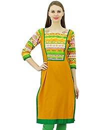 Phagun Las mujeres de algodón Kurta recta Boho Chic túnica de la blusa