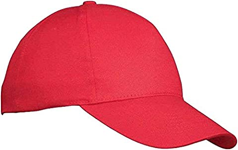 Mens Classic Adjustable Baseball Caps - WORK CASUAL SPORTS LEISURE (RED)