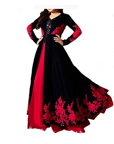 Royal Export Women\'s Bangalori Silk Gown (mirror black gown__Black_Free Size)
