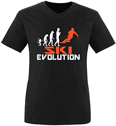 EZYshirt® Ski Evolution Herren V-Neck T-Shirt Schwarz/Weiss/Orange