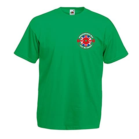 T shirts for men for 11 th of November - Remembrance day poppy - Lest we Forget! (XX-Large Green Multi