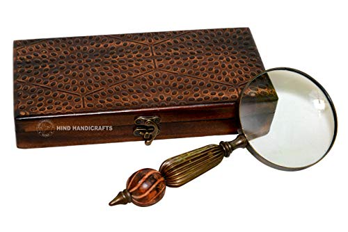 Antik Handlupe mit 7,6?cm Premium Messing gerahmt Lupe mit Handarbeit Holz + Messing   B?ro Ware Dekorative Zoomen Objektiv   f?r Vater/Mutter/f?r Thanksgiving/Jahrestag