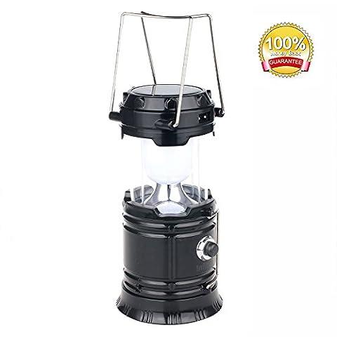 Lanterne solaire: Camping LED rechargeable lampe d'extérieur lampe de poche Plus lumineux à suspendre Camp Pop Up assuré Meilleur pliable lumière d'urgence avec batterie intégrée de chargeur de téléphone Noir Panne de secteur lumières