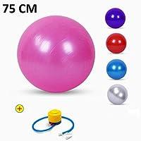 TOUA Anti-Burst Fitness Exercise Stability Balance Yoga Ball - Swiss Birthing Gym Ball 75 cm with Foot Pump (Random Color)