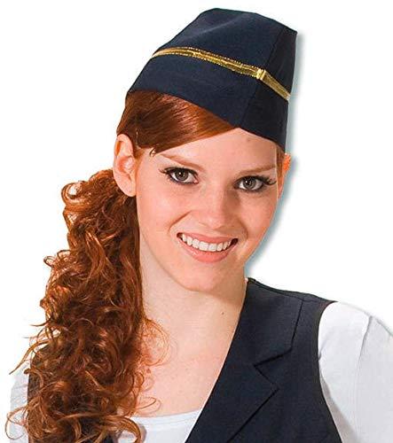 Stewardessen Mütze mit Goldborte (Stewardess Hut Weiß)
