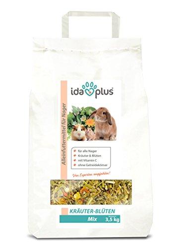 Ida Plus - Kräuter-Blüten Mix 3,5 kg - Abwechslungsreicher Futter-Mix für Nager: Kaninchen, Zwergkaninchen, Hamster, Meerschweinchen, Chinchillas usw. - mit Karotte & Luzerne + Vitamin C (Misc.)