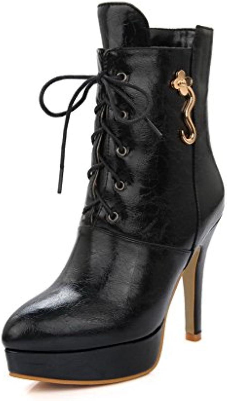 AllhqFashion Damen Niedrig-Spitze Rein Stiletto Blend-Materialien Spitz Zehe Stiefel
