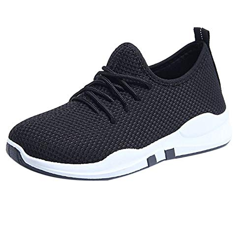 Luckhome Turnschuh Ausgefallene Schuhe Top Damen Sneaker Weite h Joggen Frauen, die Trainer Laufen, schnüren Sich Oben Flache Bequeme Eignungs-Turnhallen-Sportschuhe-Freizeitschuhe(Schwarz,EU:37.5)