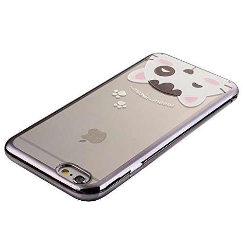 Apple iPhone 6/6S 4.7 Hülle, Voguecase Schutzhülle / Case / Cover / Hülle / TPU Gel Skin (Lila Rosen) + Gratis Universal Eingabestift Nette Kätzchen 03