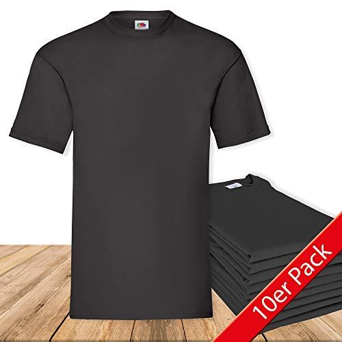 10er Pack Valueweight Fruit of the Loom T-Shirt Größe S - 5XL T-Shirts in vielen Farben L,schwarz -
