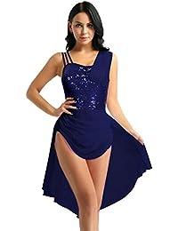 iiniim Robe de Ballet Danse Classique Tutu Femme Robe de Sport Paillettes  Scintillant Justaucorps Danse Gymnastique c31bf335d4c