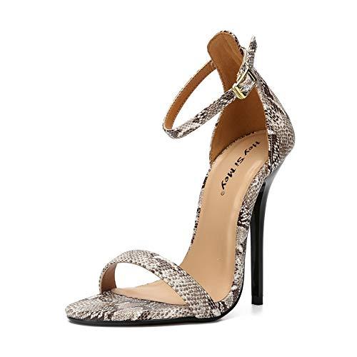 Sandalen Schnalle Slingback Stiletto, MWOOOK-1000 Elegant Freizeit Hochzeit Hochhackige Damenschuhe Abendschuhe,Snake,46 Snake Stiletto