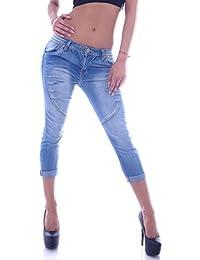 Damen Caprijeans Capri Jeans Hose Hüftjeans Hellblau Strass Bermudas Shorts