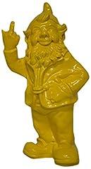 Idea Regalo - Stone-Lite - Statuetta - Nano Da Giardino Che Mostra Dito Medio - 30 Cm - Giallo - Regalo Divertente
