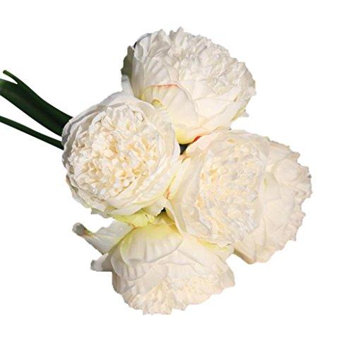 Coloré(TM) Roses de cristal Faux soie artificielle fleurs pivoine mariage Floral Bouquet nuptiale Hortensia Decor (Blanc)