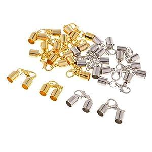 20x Gold Versilbert 4mm Lederband Kumihimo Endkappe Rohr Karabinerverschlüsse