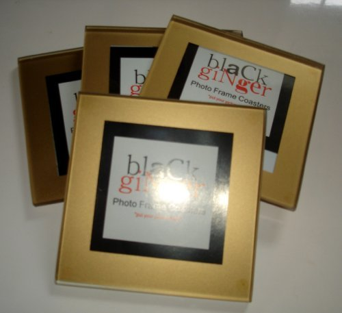 Stylish Photo Frame Coasters Gold Finish, Great Unusual Gift by Ginger Interiors -