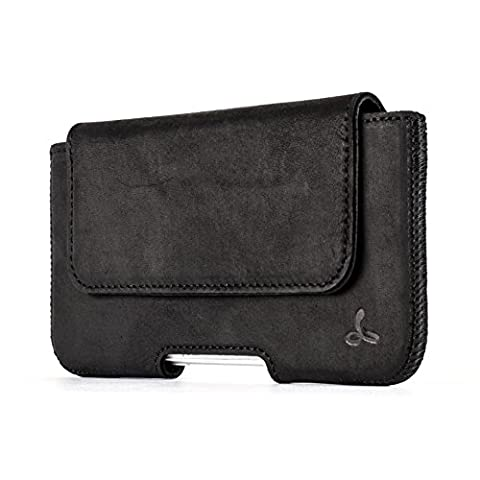 Snakehive® Premium Leather Pouch Case Holster with Belt Loop (Apple iPhone 7, Black)