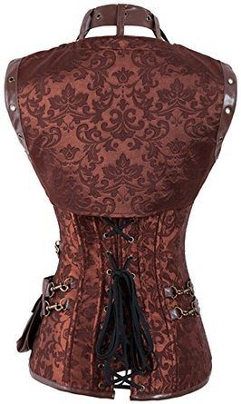Shoperama - Corsetto in stile steampunk con tasche, colore: marrone marrone Medium