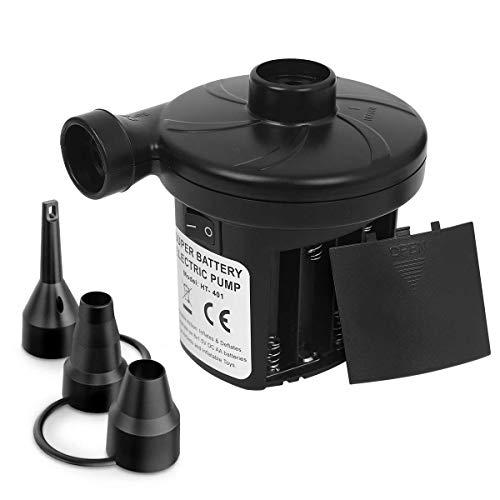 YCGJ Tragbare elektrische Luftpumpe, Schnellbefüllbare tragbare Luftpumpe mit Luftablass und 3 Verbindungsdüsen für Blow-Up-Pool-Spielzeug, Batteriebetrieben (Nicht enthalten)