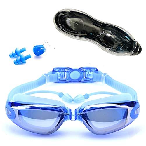 Schwimmbrillen Erwachsener Wasserdichter Anzug Hd Anti-Fog 100% Uv Einstellbares Rezept Für Schwimmbäder Professioneller Augenschutz Wiederverwendbares Dauerhaftes Praktisches Modisches Blau
