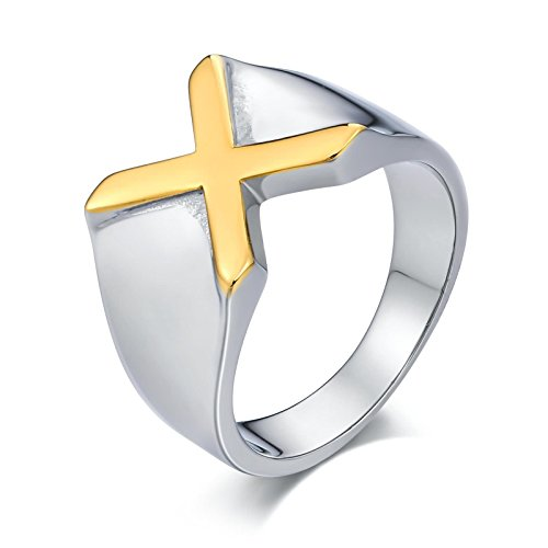 (Bishilin Gothic Edelstahl Ring Männer Buchstabe X Partnerringe Gold Silber Ringe Größe 54 (17.2))