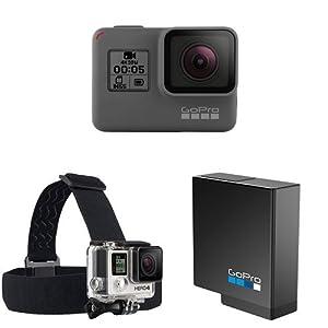 GoPro HERO5 Black Action Kamera (12 Megapixel) schwarz/grau+GoPro Kopfband Plus Quick-Clip+GoPro Akku für HERO5