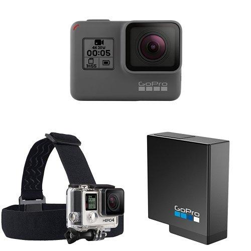 Galleria fotografica GoPro HERO5 Videocamera 12 MP, 4K/30 fps, 1440p/80 fps, 1080p/120 fps, Wi-Fi, Bluetooth [Italia] + GoPro Headstrap+ Quickclip Fissaggio su Cappelli o Oggetti, Nero/Antracite + GoPro AABAT-001-EU Batteria Ricaricabile per HERO5 Black, Nero