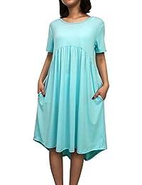 Toamen Vestido De Bolsillos De Manga Corta para Mujer,Vestido Informal De Cuello Redondo Flojo